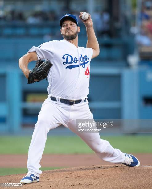 Los Angeles Dodgers starting pitcher Rich Hill delivers a pitch during a MLB game between the Milwaukee Brewers and the Los Angeles Dodgers on August...