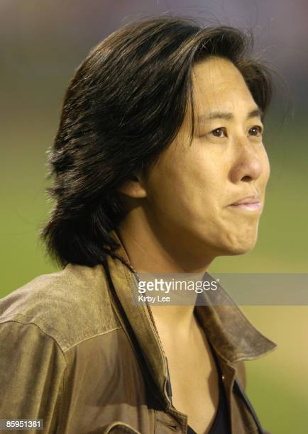 Los Angeles Dodgers vice president and assistant general manager Kim Ng watches batting practice before game against the Angels at Angel Stadium in...