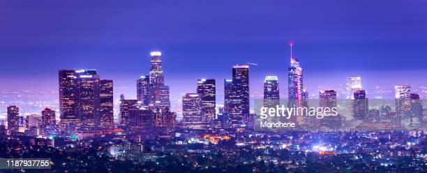 los angeles downtown i skymningen, kalifornien stock foto - hollywood kalifornien bildbanksfoton och bilder