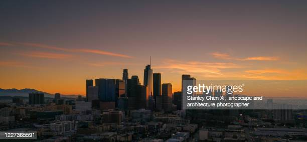 los angeles downtown dawn from air - los angeles stock pictures, royalty-free photos & images