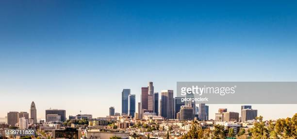 los angeles downtown panorama - city of los angeles stock pictures, royalty-free photos & images