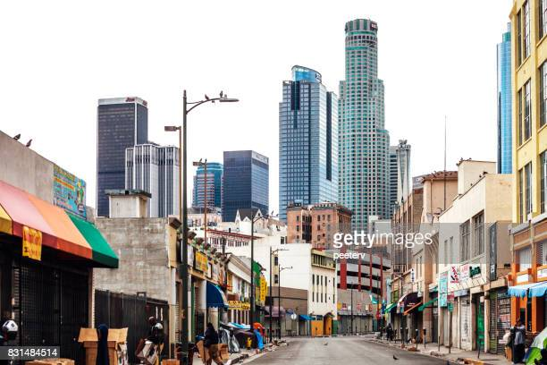 los angeles downtown - homeless los angeles stock photos and pictures