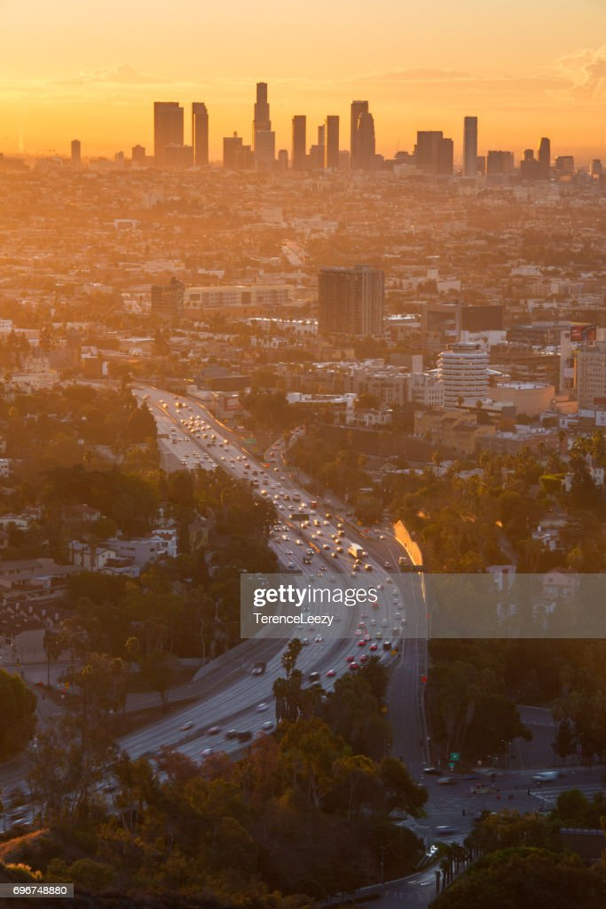 Los Angeles downtown sunrise : Stock Photo