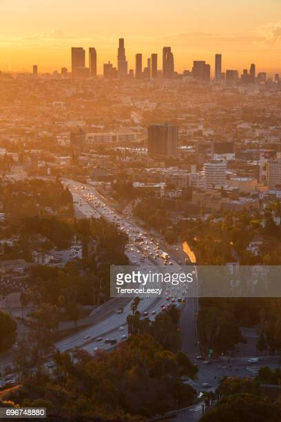 los angeles downtown sunrise - hollywood california stock pictures, royalty-free photos & images