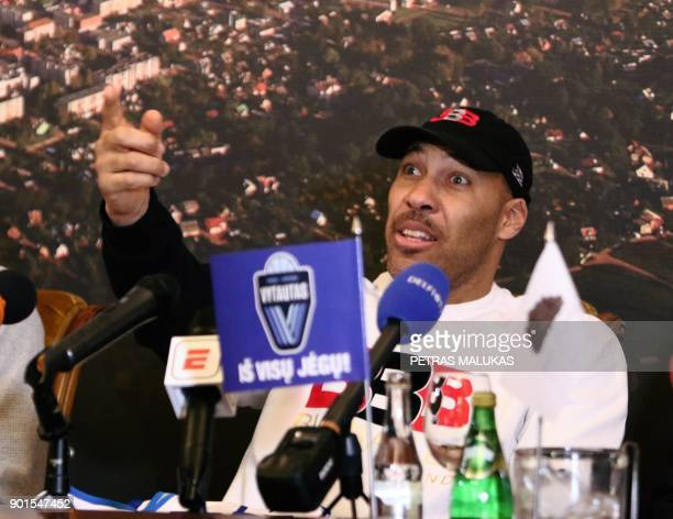 Los Angeles entrepreneur LaVar Ball addresses a press conference in Prienai Lithuania where his sons LaMelo Ball LiAngelo Ball will play for the...