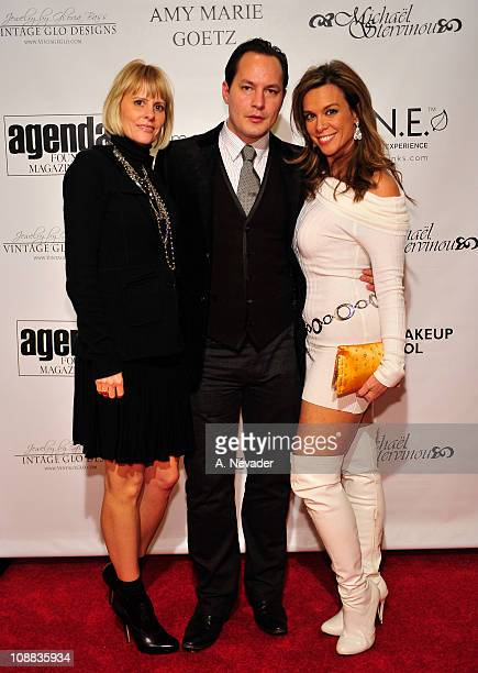 Los Angeles Fashion Week Producer Leanna Lewis artist Michael Stervinou and actress Chase Masterson attend the Amy Marie Goetz Runway Show Benefiting...
