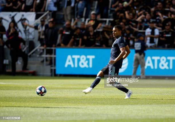 Los Angeles FC defender Eddie Segura passes the ball during the game against the Seattle Sounders on April 21 at Banc of California Stadium in Los...