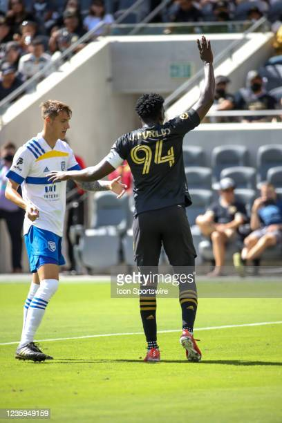 Los Angeles FC defender Jesus Murillo raise his hand during the Los Angeles FC vs San Jose Earthquakes MLS game on October 16 at BANC of California...