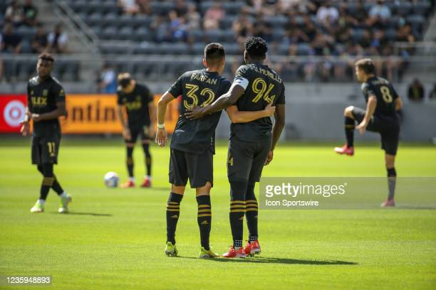Los Angeles FC defender Marco Farfan and Los Angeles FC defender Jesus Murillo during the Los Angeles FC vs San Jose Earthquakes MLS game on October...