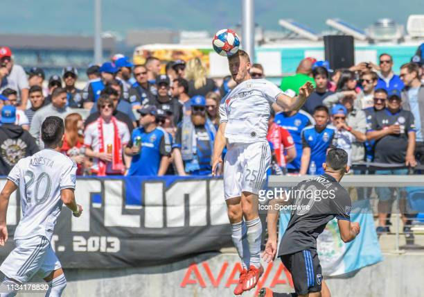 Los Angeles FC defender Walker Zimmerman goes up for a pass during the match between the San Jose Earthquakes and the Los Angeles Football Club on...