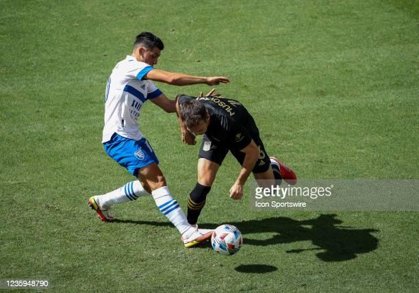 Los Angeles FC forward Carlos Vela playing defense during the Los Angeles FC vs San Jose Earthquakes MLS game on October 16 at BANC of California...