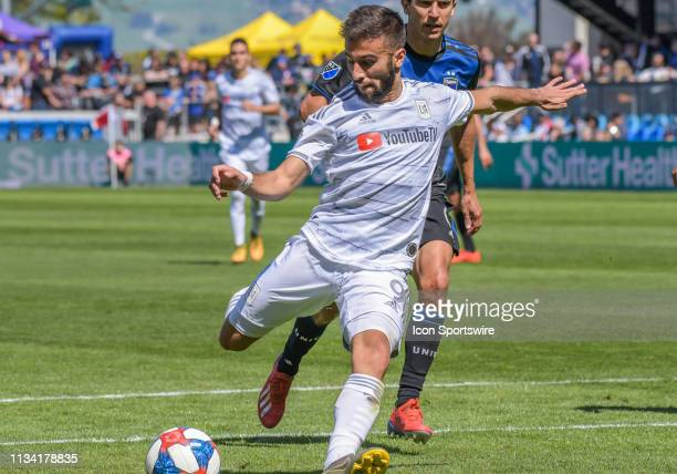Los Angeles FC forward Diego Rossi clicks back for his goal kick during the match between the San Jose Earthquakes and the Los Angeles Football Club...