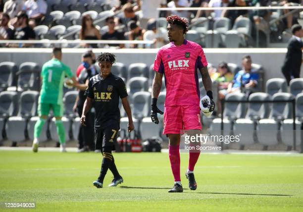 Los Angeles FC forward Latif Blessing and Los Angeles FC goalkeeper Jamal Blackman talk during the Los Angeles FC vs San Jose Earthquakes MLS game on...