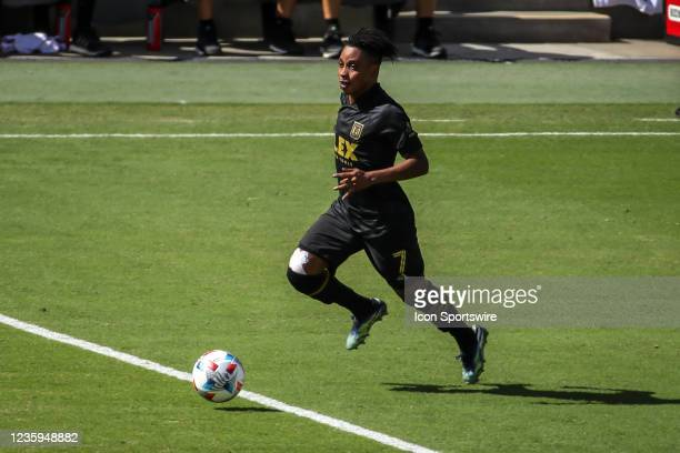 Los Angeles FC forward Latif Blessing charges down th3e field during the Los Angeles FC vs San Jose Earthquakes MLS game on October 16 at BANC of...
