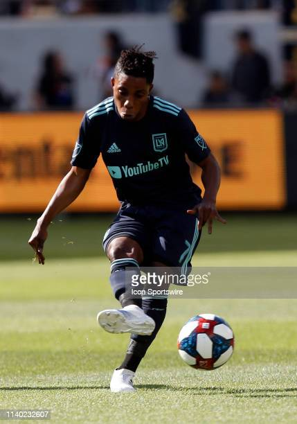 Los Angeles FC forward Latif Blessing passes the ball during the game against the Seattle Sounders on April 21 at Banc of California Stadium in Los...