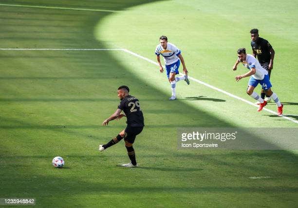 Los Angeles FC foward Cristian Arango attemps a free kick during the Los Angeles FC vs San Jose Earthquakes MLS game on October 16 at BANC of...