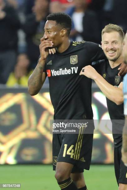 Los Angeles FC MarkAnthony Kaye celebrates his goal with Los Angeles FC defender Jordan Harvey in the first half in the game between Minnesota United...