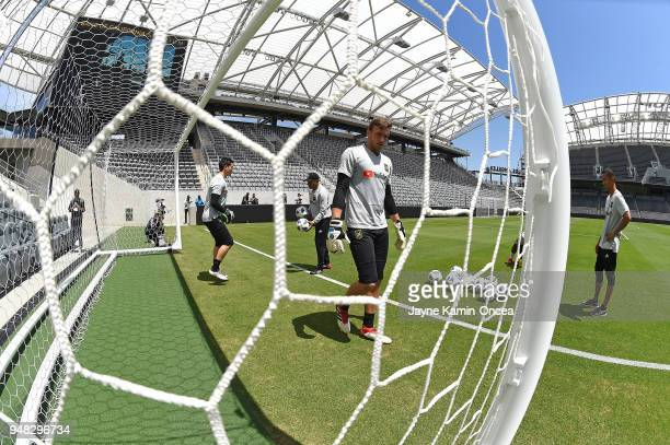 Los Angeles FC players practice for the first time on the field at the Banc of California Stadium on April 18 2018 in Los Angeles California