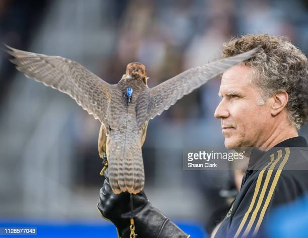 Los Angeles FC's owner Will Farrell with Olly prior to Los Angeles FC's MLS match against Sporting Kansas City at the Banc of California Stadium on...