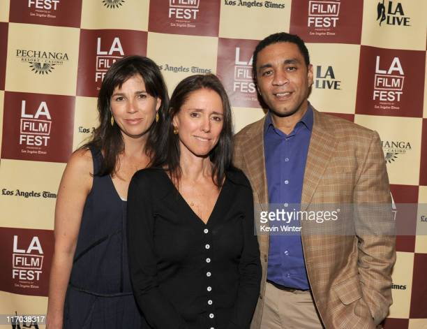 Los Angeles Film Festival Director Rebecca Yeldham, director Julie Taymor and actor Harry Lennix attend The Art of Translation: A Conversation with...