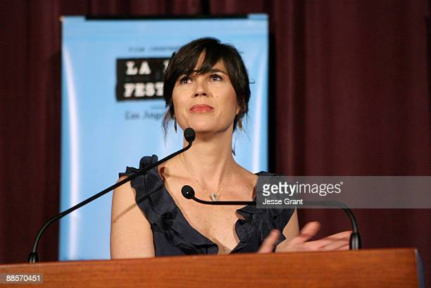 """Los Angeles Film Festival Director Rebecca Yeldham speaks at the 2009 Los Angeles Film Festival's Opening Night Premiere of """"Paper Man"""" held at the..."""
