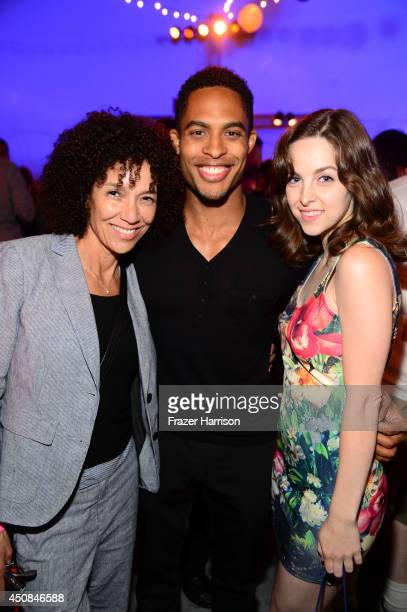 Los Angeles Film Festival director Stephanie Allain actor Brandon P Bell and actress Brittany Curran attend the after party for the premiere of Dear...