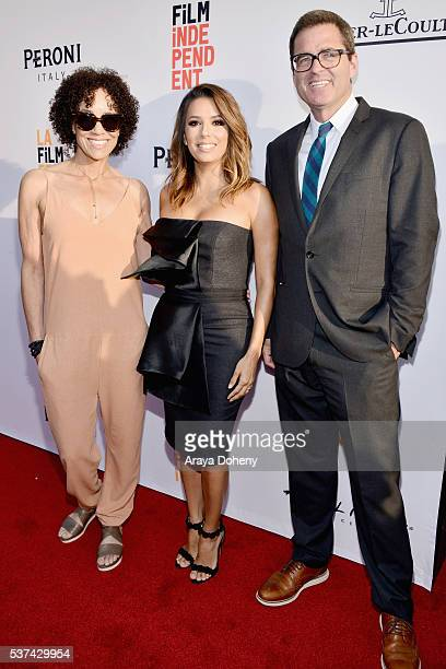 Los Angeles Film Festival director Stephanie Allain, actress Eva Longoria, and President of Film Independent Josh Welsh attend the premiere of...