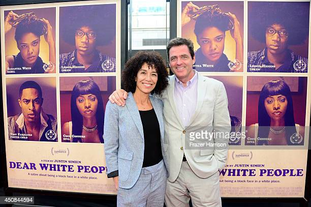 "Los Angeles Film Festival director Stephanie Allain and Film Independent President Josh Welsh attend the premiere of ""Dear White People"" during the..."