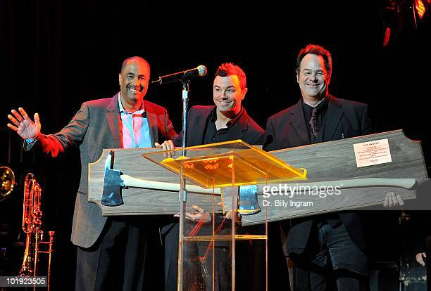 Los Angeles Fire Department Chief Millage Peaks actor Seth MacFarlane and actor Dan Aykroyd onstage at the 2nd Annual LAPD Memorial Foundation...