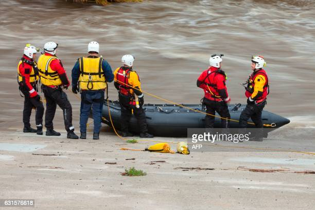 Los Angeles Fire Department's Swift Water Rescue personnel respond to a call to search for a possible deceased individual on an island in the middle...
