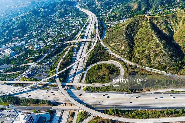 De Los Ángeles, las autopistas y el intercambio Vista aérea