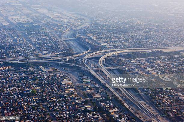 Los Angeles freeways from the air at sunset.
