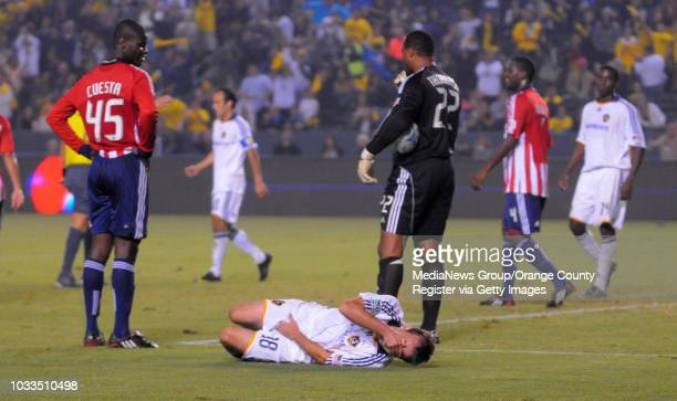 CARSON 11/08/09 Los Angeles Galaxy beat Chivas USA 10 to advance to the MLS Western Conference finals 2nd half Galaxy's Mike Magee goes down injured...