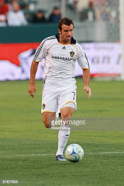 Los Angeles Galaxy Defender Chris Klein controls the ball during their MLS game against the New England Revolution at Home Depot Center on July 4...