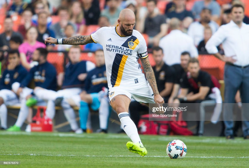 Los Angeles Galaxy defender Jelle Van Damme (37) winds up for a long pass during a MLS match between DC United and the Los Angles Galaxy on June 3, 2017, at RFK Stadium in Washington DC. The game ended in a scoreless tie.