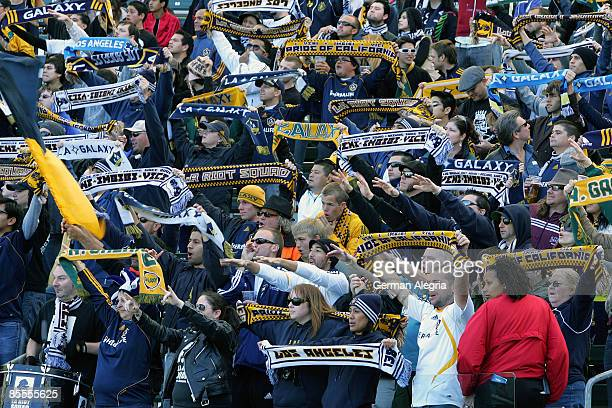 Los Angeles Galaxy fans celebrate goals scored by Landon Donovan against DC during the MLS game Los Angeles Galaxy vs DC United at Home Depot Center...