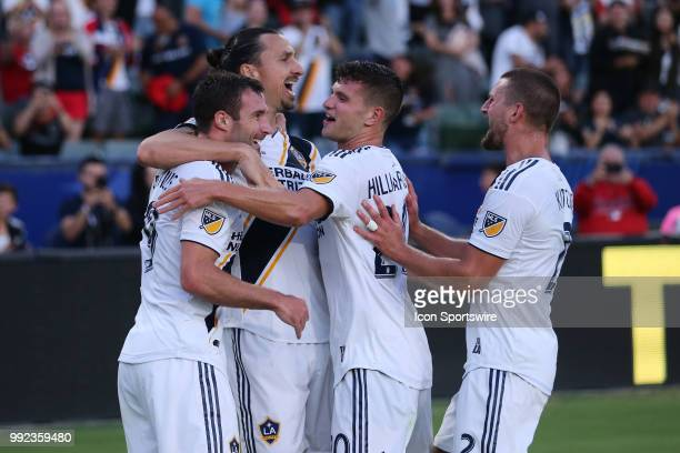 Los Angeles Galaxy forward Chris Pontius celebrates his first half goal with Los Angeles Galaxy forward Zlatan Ibrahimovic Los Angeles Galaxy...