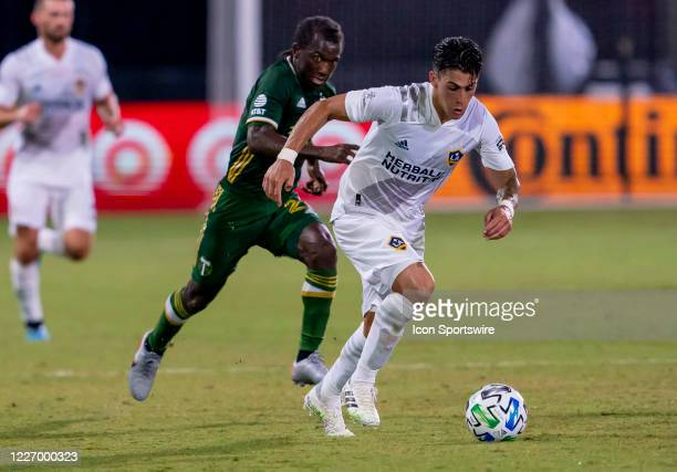 Los Angeles Galaxy forward Cristian Pavon makes a run during the MLS Is Back Tournament between the LA Galaxy v Portland Timbers on July 13, 2020 at...