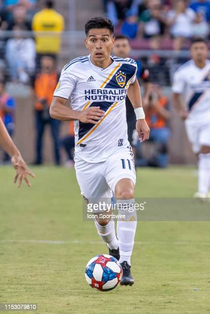 Los Angeles Galaxy forward Favio Alvarez brings the ball down the field during the MLS game between the Los Angeles Galaxy and San Jose Earthquakes...