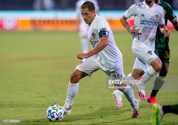 Los Angeles Galaxy forward Javier Hernandez runs with the ball during the MLS Is Back Tournament between the LA Galaxy v Portland Timbers on July 13...