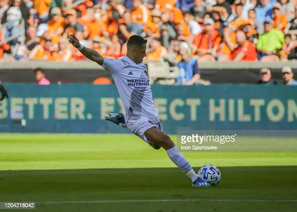 Los Angeles Galaxy forward Javier Hernandez take a shot on goal during the MLS match between the Los Angeles Galaxy and Houston Dynamo on February...