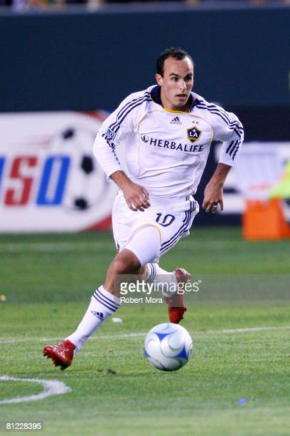 Los Angeles Galaxy Forward Landon Donovan attacks the defense of the Kansas City Wizards during their MLS game at Home Depot Center on May 24 2008 in...