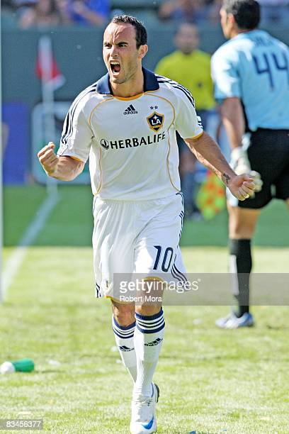 Los Angeles Galaxy forward Landon Donovan celebrates after scoring his 20th goal of the season against FC Dallas during their MLS game at Home Depot...