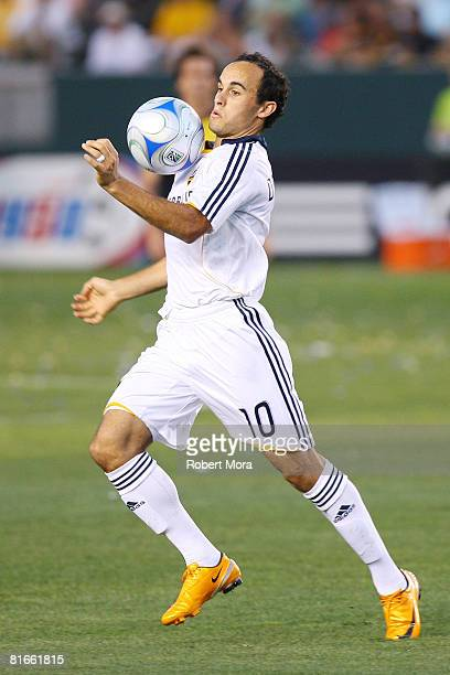 Los Angeles Galaxy forward Landon Donovan stops a loose ball during their MLS game against the Columbus Crew at Home Depot Center on June 21 2008 in...