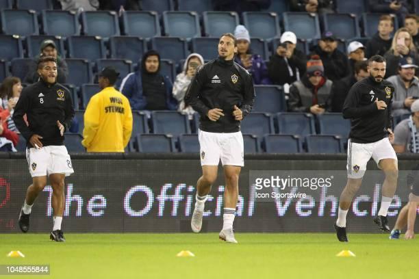 Los Angeles Galaxy forward Zlatan Ibrahimovic and teammates warm up before an MLS match between the LA Galaxy and Sporting Kansas City on October 6...