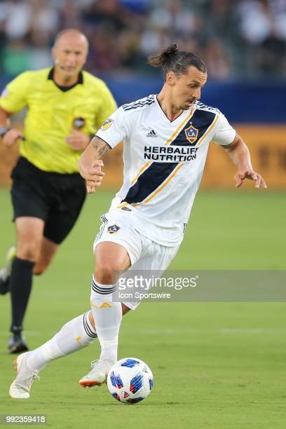 Los Angeles Galaxy forward Zlatan Ibrahimovic attacks with the bay in open space in the game between the DC United and the LA Galaxy on July 04 2018...