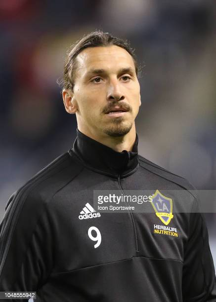 Los Angeles Galaxy forward Zlatan Ibrahimovic before an MLS match between the LA Galaxy and Sporting Kansas City on October 6 2018 at Chldren's Mercy...