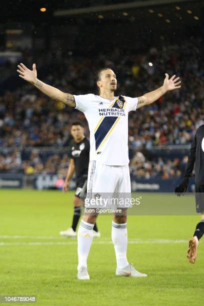 Los Angeles Galaxy forward Zlatan Ibrahimovic celebrates after scoring on a penalty kick in the first half of an MLS match between the LA Galaxy and...