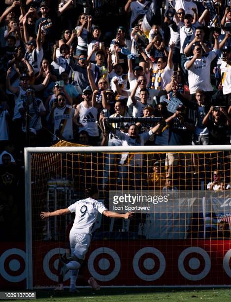 Los Angeles Galaxy forward Zlatan Ibrahimovic celebrates his penalty kick goal in the first half during the MLS regular season match between Los...