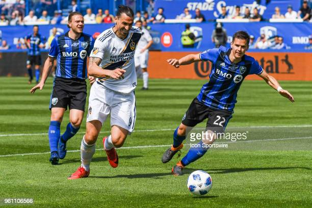 Los Angeles Galaxy forward Zlatan Ibrahimovic chases the ball during the LA Galaxy versus the Montreal Impact game on May 21 at Stade Saputo in...